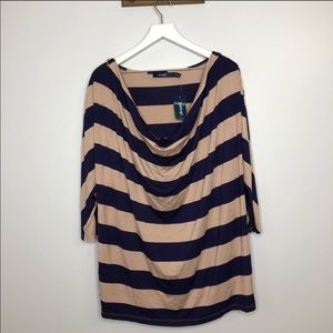 NWT Eloquii Navy and Tan Striped Drape Neck Blouse